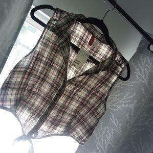 H&M cropped plaid shirt